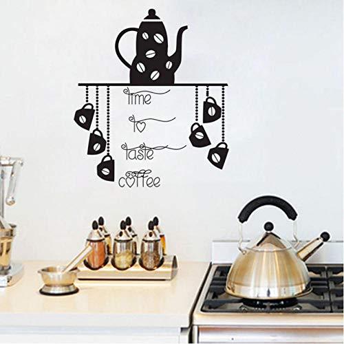 Yhzer Zeit zum Probieren Kaffee Wandtattoos Vinyl Abnehmbare DIY Wandaufkleber Für Küche Kaffeekanne und Tassen Wand Dekorative Aufkleber 53x61 cm