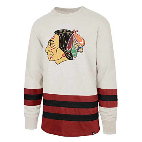 47 Brand NHL Chicago Blackhawks Center Ice Crew Eishockey Sweater Lacer Jersey Trikot Vintage (L)