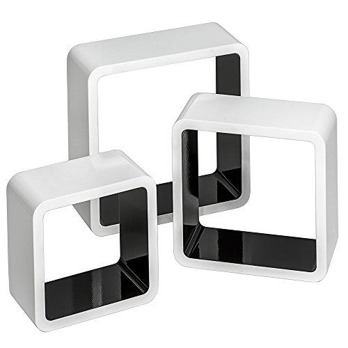 TecTake 800703 3er Set Wandregal Hängeregal im Retro Cube Design für Bücher CDs Deko, inkl. Montagematerial - Diverse Farben - (Weiß-Schwarz   Nr. 403182)