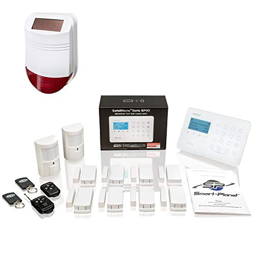 Safe2Home® Funk Alarmanlagen Set SP110 Sabotageschutz Solar Sirene – deutschsprachiges GSM Alarmsystem SMS Alarmierung - Alarmanlagen fürs Haus Büro inkl. Bewegungsmelder