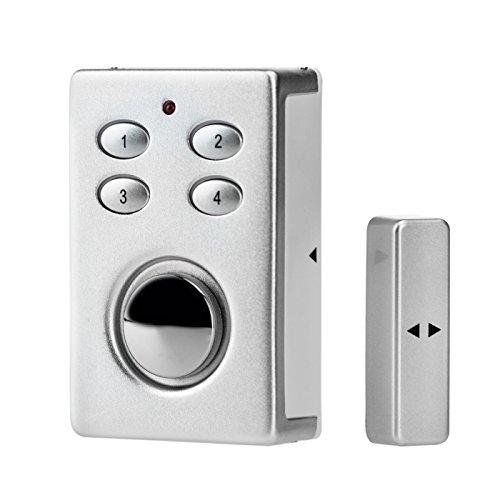 KOBERT GOODS SP65 in silber sehr laute 130db Sirene , drahtloser Tür Fenster Garage oder Vitrinen Alarm, Einsatz als Alarmanlage, Einbruchsschutz, Mit PIN Code Eingabe, Magnet / Vibration / Erschütterung Sensor