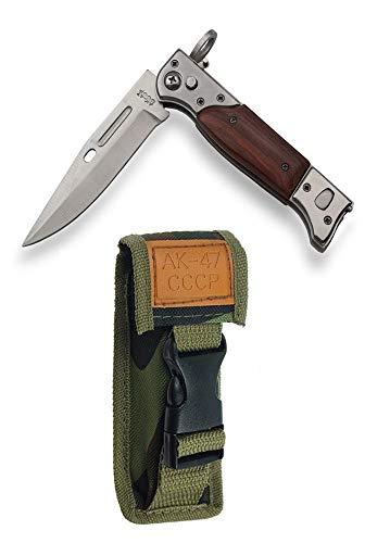 KOSxBO® klassisches UDSSR 47 - Taschenmesser ca. 22cm - Holzgriff - Klappmesser - Outdoormesser - Hunting Knife -braun, siber