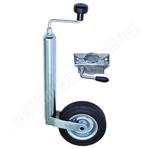 meinAnhängerersatzteil Winterhoff Stützrad mit Halter Bugrad mit Drucklager 150kg f. Pkw Anhänger + Stützradhalter