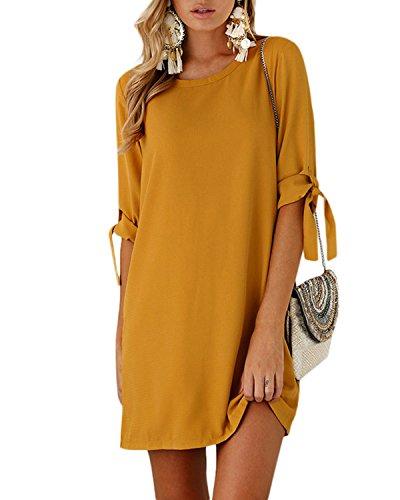 YOINS Sommerkleid Damen Tshirt Kleid Rundhals Kurzarm Minikleid Kleider Langes Shirt Lose Tunika mit Bowknot Ärmeln Aktualisierung-Gelb EU36-38