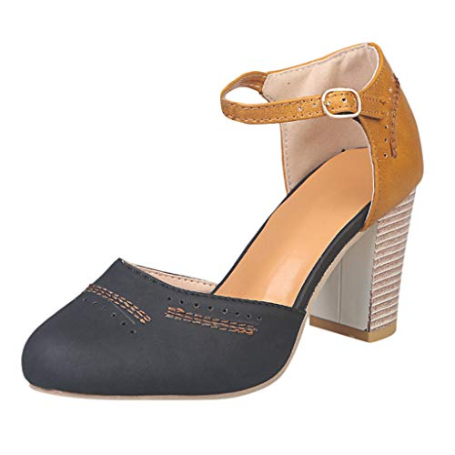 Lucky Mall Damen Denim-Stil Sandalen mit Dickem Absatz, Sexy Runder Zehenschuh Sandalen mit Hohen Absätzen Arbeitsschuhe Business-Schuhe Hochzeitsschuhe Party Schuhe