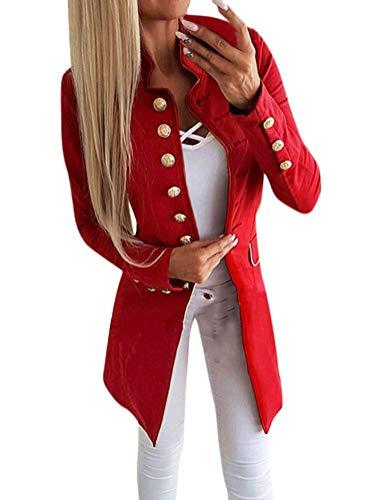 Tomwell Damen Blazer Elegant Mantel mit Knopfleiste Military Coat Lang Blazer Slim Fit Blazer Freizeit Stehkragen Business Büro Anzug Jacken Rot DE 36