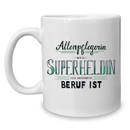Shirtdepartment - Kaffeebecher - Tasse - Altenpflegerin - Superheldin Weiss-schwarz