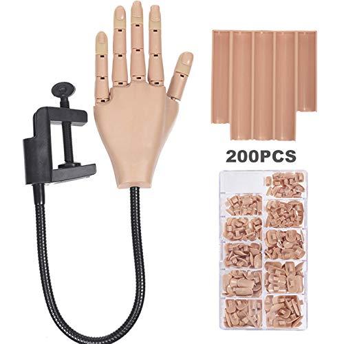 Nägel Ausbildung Praktizieren Modell Hand + 200 stück Nagelpflaster Nägel Anzeige Maniküre Unterstützung Flexibel Beweglich Falsch Fälschung Hände zum Nägel Kunst Maniküre DIY Praktizieren Werkzeug