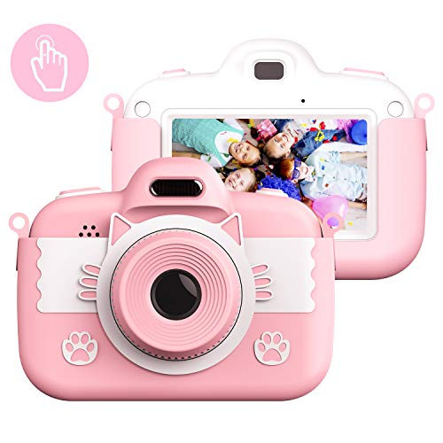 Kinderkamera Digital Kamera, Vannico Touch Screen Kinder Selfie Mini HD Kamera Mädchen Jungen, Digitalkamera für Kinder Actionkameras Camcorder mit 16G SD Karte (Rosa)