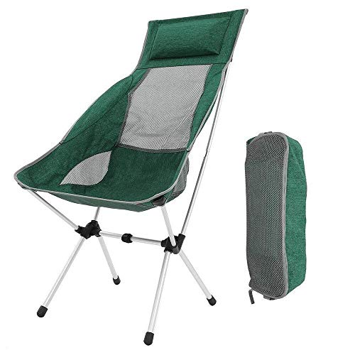 Sucastle Folding Camping Stuhl Compact tragbare Ultra Folding Backpacking Stühle in Einer Tragetasche for Wanderer Camping Strand Angeln Picknick im Freien Garten-Grill (Color : Green)