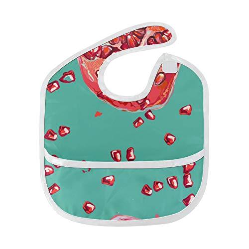 Zemivs Roter gemalter Granatapfel sät Frucht weiches wasserdichtes waschbares Fleck und Geruch beständiges Baby das Dribble Geiferlätzchen Lätzchen spuckt Tücher für Säuglingsoverall für 6-24 Monate