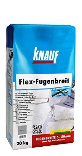 Knauf Flex-Fugenbreit Spezial-Fugenmörtel, schlämm- und gießfähig, für Fugenbreiten von 5 – 50 mm, schmutzabweisend, schnell begehbar, für Böden im Innen-Bereich und Außen-Bereich, anthrazit, 20-kg