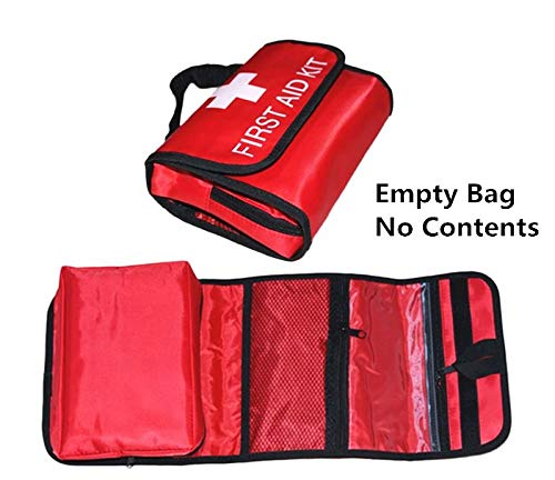 Jipemtra First Aid Bag Small Outdoor Travel Rescue Bag Empty Pouch First Responder Storage Compact Survival Medicine Bag Pocket Container for Car Home Office Sport Gym (Red foldable)