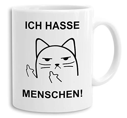 Katze Ich hasse Menschen - Tasse mit Spruch Kaffeetasse Kaffeebecher Kaffeepot Frühstückstasse Bürotasse Geschenk lustig, Farbe:Weiß
