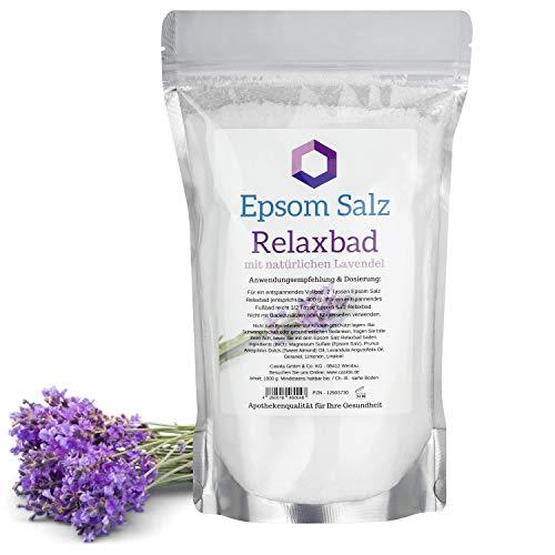 Epsom Salz Relaxbad mit natürlichem Lavendelöl/Lavendel - Magnesium zum Baden - 1000 g - Ideal für Voll- und Fußbäder - Original Epsom Salz aus der Apotheke