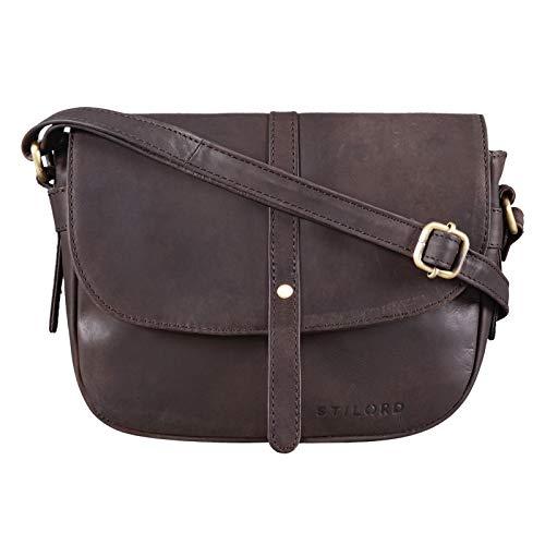 STILORD 'Clara' Kleine Umhängetasche Frauen Leder Vintage Handtasche zum Ausgehen Klassische Abendtasche Partytasche Freizeittasche Echtleder, Farbe:matt - Dunkelbraun