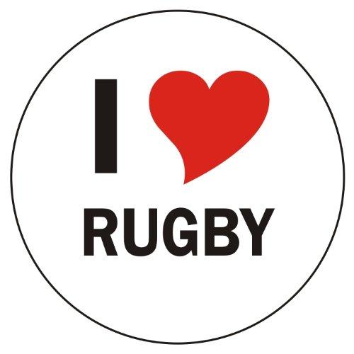 Aufkleber / Sticker / Autoaufkleber - I love Rugby Aufkleber - 8 cm Durchmesser rund - JDM / Die cut / OEM - Auto / Heckscheibe - aussenklebend
