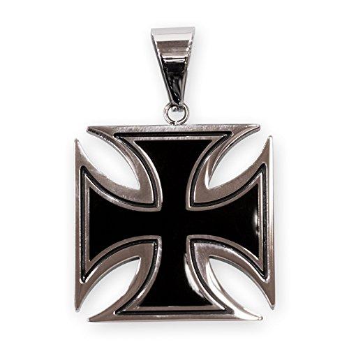 Fly Style Damen Herren Ketten-Anhänger Edelstahl Eisernes Kreuz schwarz Silber Verschiedene Größen pdst037, Grösse:40 mm