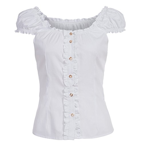 Almsach Damen Trachten-Mode Trachtenbluse Carmen traditionell geschnitten Gr.32-50, Größe:48, Farbe:Weiß
