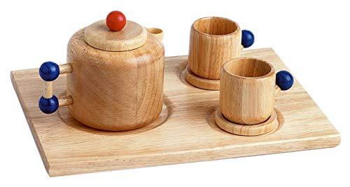 Kaffeekanne + Tassen aus Holz, Kaufladenzubehör