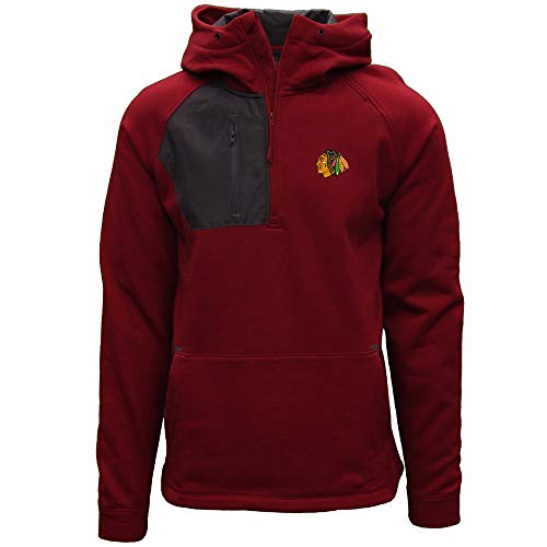 Levelwear NHL Chicago Blackhawks Mens Vanquist Insignia Mens Hooded Pullover, Flame Red/Charcoal, Small