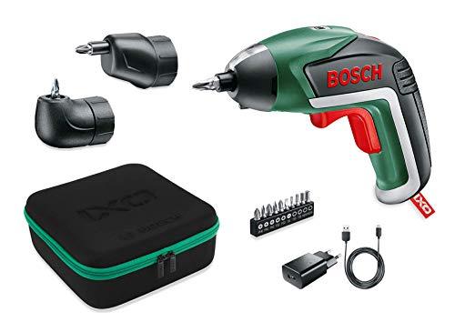 Bosch Akkuschrauber IXO Set (Winkelaufsatz und Exzenteraufsatz, 10 Bits, USB-Ladegerät, Softcase, 3,6 Volt, 1,5 Ah)