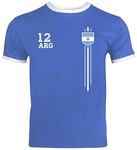 Argentinia Soccer World Cup Fussball WM Fanfest Gruppen Herren Männer Ringer Trikot T-Shirt Streifen Trikot Argentinien, Größe: L,Royal Blue/White