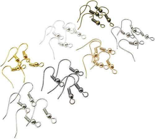 TOAOB 700 Stück 18mm Ohrring Haken Ohrhaken mit Kugel und Spule 7 Farben für DIY Ohrringe Schmuckherstellung