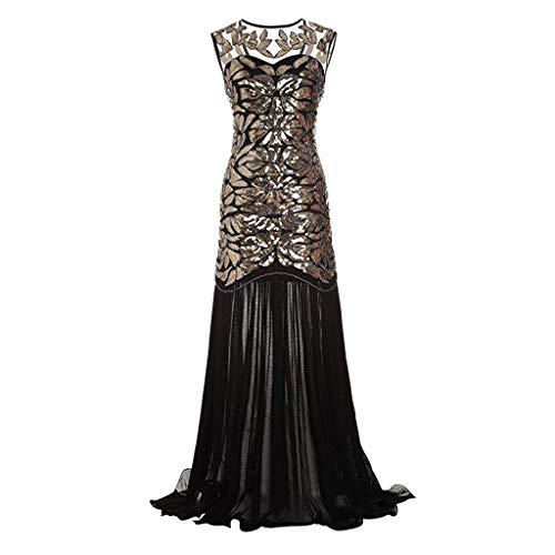 Lazzboy Damen Abendkleid 20er Jahre Kleid Pailletten Maxi Langes Ballkleid(Schwarz,2XL)