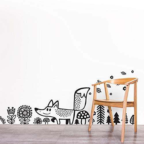 wilde tiere fox wand aufkleber vinyl wandsticker wälder dekor zeichentrick - fuchs wandtattoo aufkleber für kinderzimmer kinder schlafzimmer der endgröße (wie unser stil ist 125cm)