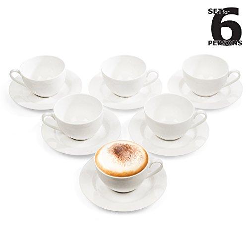 Urban Lifestyle Cappuccino-Tassen Set/Kaffee-Tassen/Tee-Tassen Service für 6 Personen (12-teilig) Giovanni Tasse mit Untertasse/Unterteller aus Porzellan