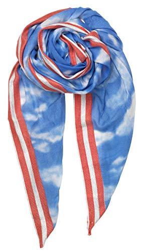 Becksöndergaard Damen Schal Clouds Blau Weiß - Hübsches Tuch Leicht Weich Baumwoll Modal Mix 200x100 cm - 1901628035-547