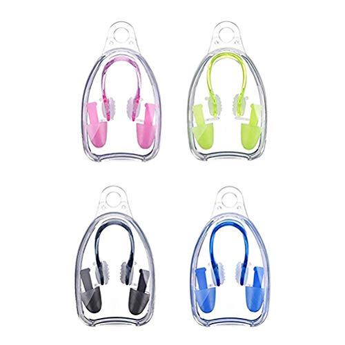 Yissma 4 Stück Schwimmer Nasenklammern Schwimmer Ohrenstöpselsets für Schwimmer, Weiche Silikon Nasenklammer und Ohrstöpsel für Schwimmen Erwachsene Kinder