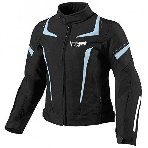 Jet Motorradjacke Damen Mit Protektoren Textil Wasserdicht Winddicht (Schwarz, 4XL (EU 48-50))