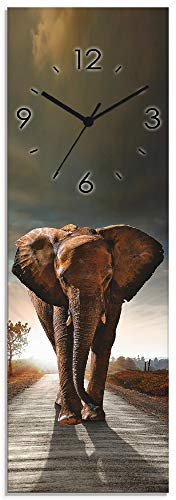 Artland Wanduhr ohne Tickgeräusche Glasuhr mit Motiv Design Quarz lautlos Größe: 20x60 cm Elefant Sonnenuntergang Afrika T9QO Braun