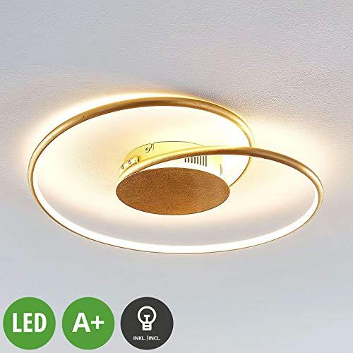 Lindby LED Deckenleuchte 'Joline' (Modern) in Gold/Messing aus Metall u.a. für Wohnzimmer & Esszimmer (A+, inkl. Leuchtmittel) - Lampe, LED-Deckenlampe, Deckenlampe, Wohnzimmerlampe