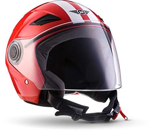 """Moto Helmets® U52 """"Racing Red"""" · Jet-Helm · Motorrad-Helm Roller-Helm Scooter-Helm Bobber Mofa-Helm Chopper Retro Cruiser Vintage Pilot Biker Helmet · ECE Visier Schnellverschluss Tasche S (55-56cm)"""