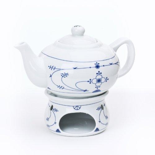 Ocean-Line Set Teekanne mit Stövchen 0,75l Porzellan Indisch Blau/Strohblume