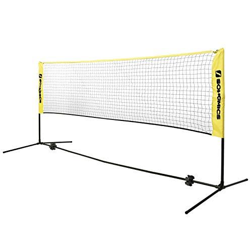SONGMICS 5 m Badmintonnetz, Tennisnetz, höhenverstellbar, Set bestehend aus Netz, stabilem Eisen-Gestell und Transporttasche SYQ500Y