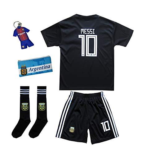 ATB Argentinien #10 Messi World Cup 18 Heim Kinder Trikot und Hose mit Dreiteiliges Geschenkset (176)