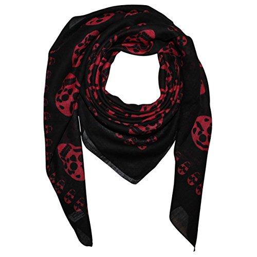 Superfreak® Baumwolltuch mit Totenkopf Muster - Tuch - Schal - 100x100 cm - 100% Baumwolle - Farbe: schwarz-rot