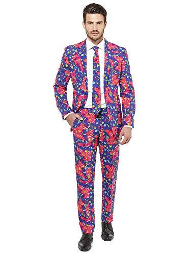 OppoSuits Abschlussball kostüme für Herren - Mit Jackett, Hose und Krawatte mit Festlichen Print 50 The Fresh Prince