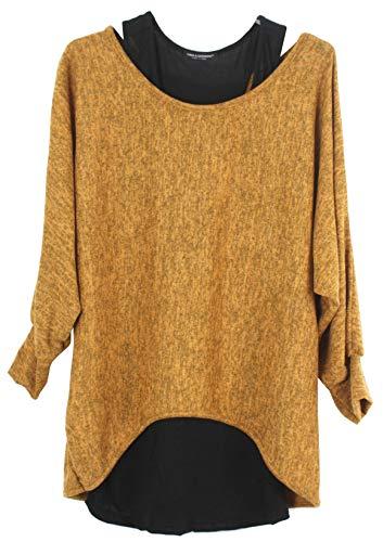 Emma & Giovanni - Damen Oversize Oberteile Tshirt/Pullover (2 Stück) / Made In Italy, S-M,  # Ocker