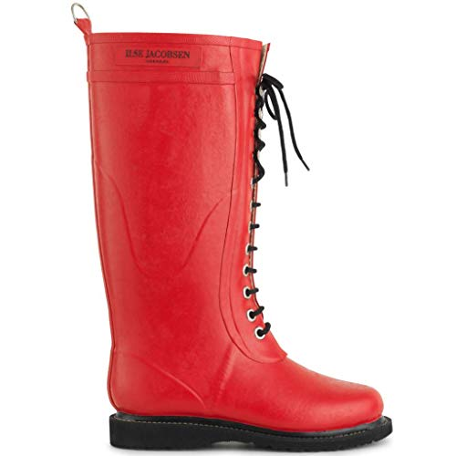 Ilse Jacobsen Damen Gummistiefel | Schuhe aus 100% Natur Bio Gummi | garantiert PVC frei | Lange Stiefel mit Schnürsenkel aus 100% Baumwolle | RUB1 Rot 36 EU