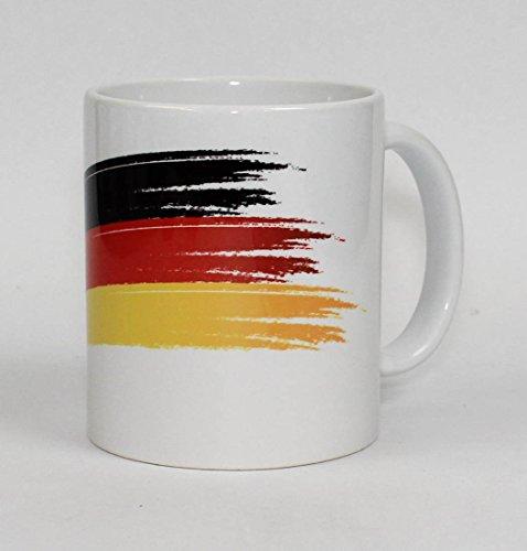 S.B.J - Sportland hochwertige Premium Keramik Deutschland Tasse mit Flagge schwarz/rot/gelb | Kaffeebecher | Mug Germany