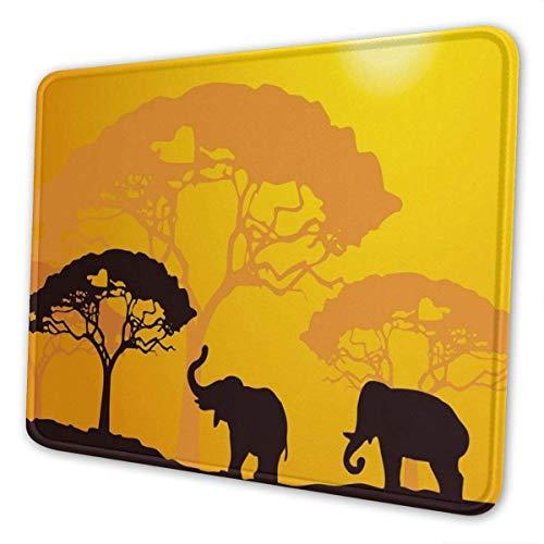 Gaming Mauspad Sonnenuntergang Elefanten Sonnenstrahlen Bäume Mauspad / Mousepad Rutschfeste Gummibasis Mausmatte für Computer Laptop Bürozubehör Schreibtisch Dekor