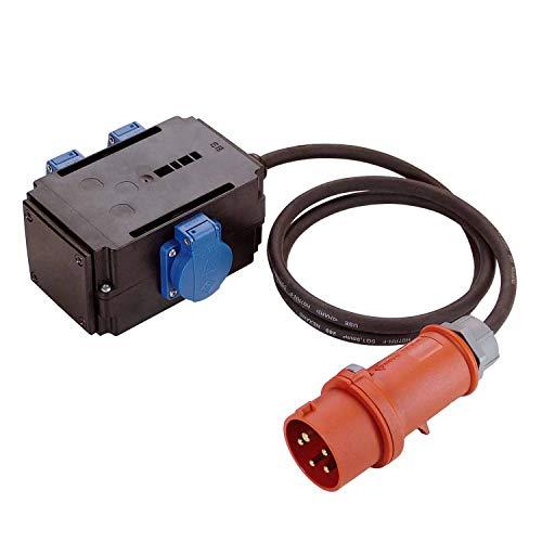 as - Schwabe MIXO Adapter / Stromverteiler NAGOLD – CEE-Stecker mit 1,5 m Gummischlauchleitung auf 3 Schuko Steckdosen – Robuster Baustellen Starkstrom-Verteiler – IP44 – Made in EU I 60527