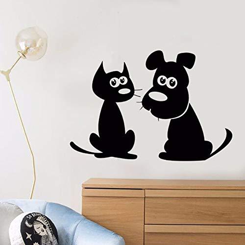 vinyl - aufkleber zeichentrick - katze hund wand aufkleber abnehmbaren welpen pet shop dekor tierischen freunde aufkleber süße haustiere vinyl wall mural 57x39cm