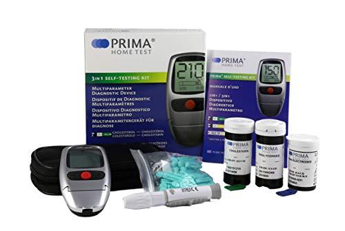 PRIMA 3 in 1 - Cholesterin Triglyceride und Glokose Messgerät + 5 Cholesterin Streifen + 5 Triglyceride Streifen + 10 Glukose Streifen