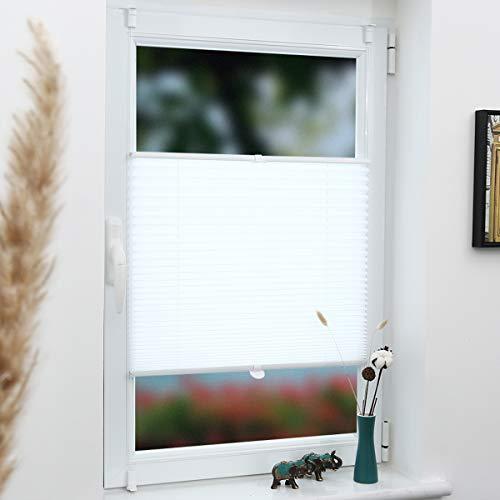 Grandekor Plissee Klemmfix Faltrollo ohne Bohren 60x200cm (BxH) Weiß, Kinderleichte Montage, Jalousie Plisseerollo Sichtschutz und Sonnenschutz für Fenster & Tür